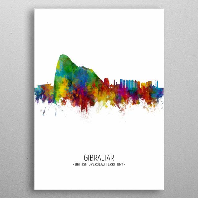 Watercolor art print of the skyline of Gibraltar metal poster