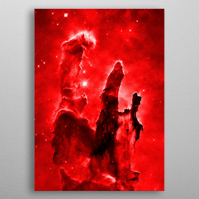 Digitally-enhanced version of an HST image of the Eagle Nebula metal poster