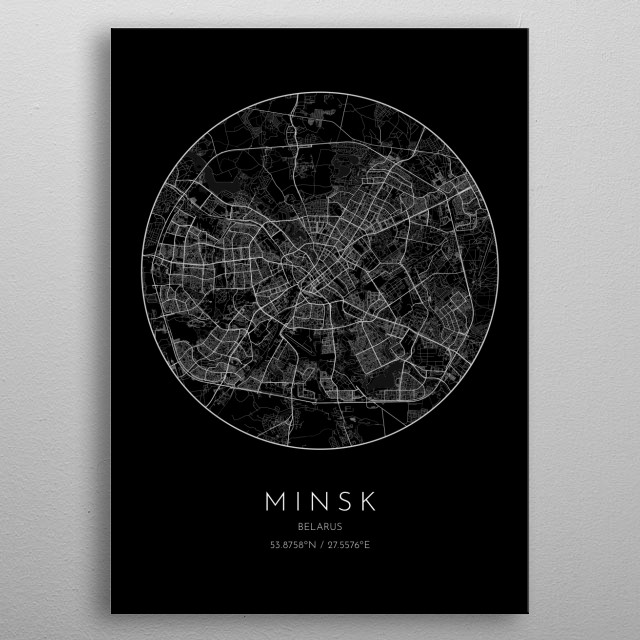 Black version of minimalistic city map of Minsk in Belarus  metal poster