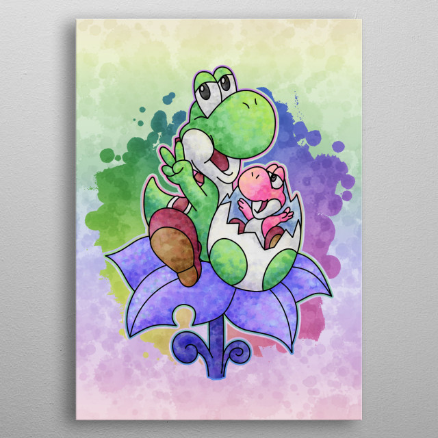 Yoshi and Baby by Likelikes metal poster