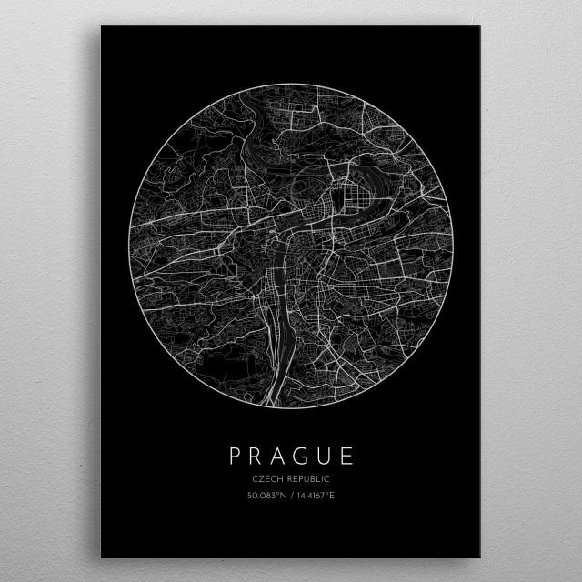Black version of minimalistic city map of Prague in Czech Republic  metal poster