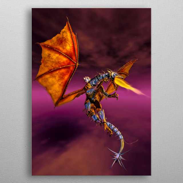 Through a dark sky in mystical land she rides her fire breathing dragon preparing for battle. Art by Bob Orsillo.  metal poster
