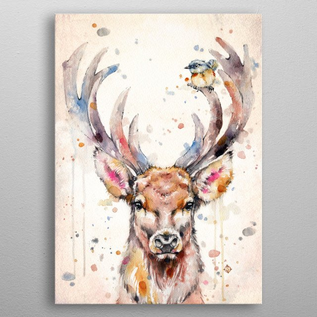 Water colour painting of a deer / stag with large antlers, and a little bird, perched on the antlers.  By artist Sillier Than Sally metal poster