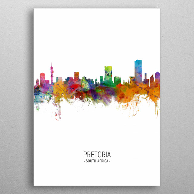 Watercolor art print of the skyline of Pretoria, South Africa metal poster