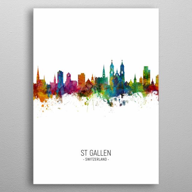 Watercolor art print of the skyline of St Gallen, Switzerland metal poster