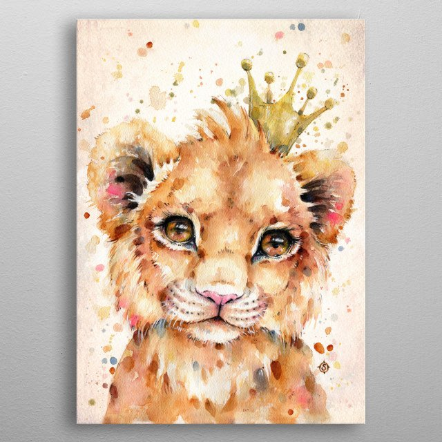 Water colour painting of a little lion cub, wearing a crown. metal poster