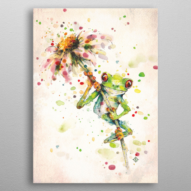 Water colour painting of a green tree frog on a flower. metal poster