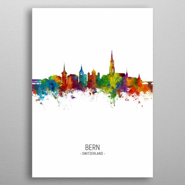 Watercolor art print of the skyline of Bern, Switzerland metal poster