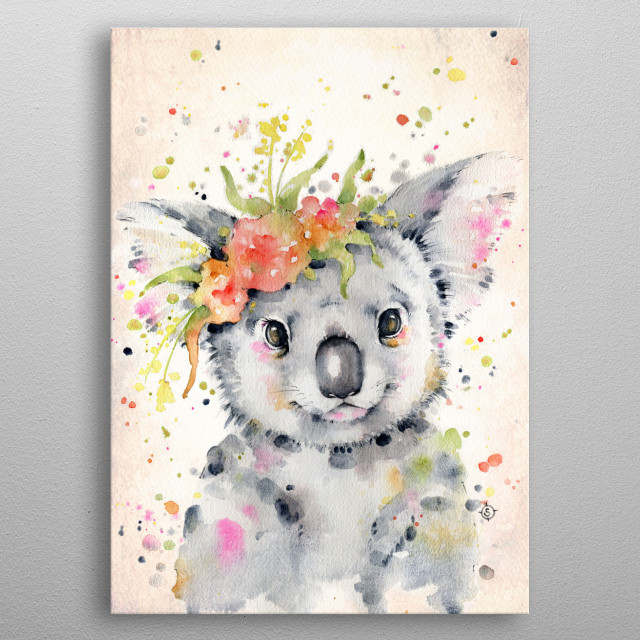 Water colour painting of a cute baby koala with a floral crown metal poster