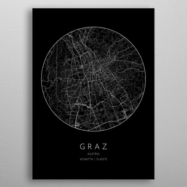 Black version of minimalistic city map of Graz in Austria  metal poster