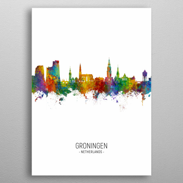 Watercolor art print of the skyline of Groningen, The Netherlands metal poster