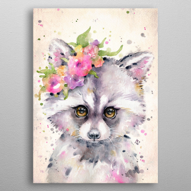 Water colour painting of a baby raccoon with a cute flower crown metal poster