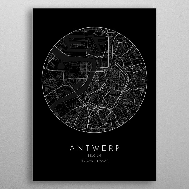 Black version of minimalistic city map of Antwerp in Belgium  metal poster