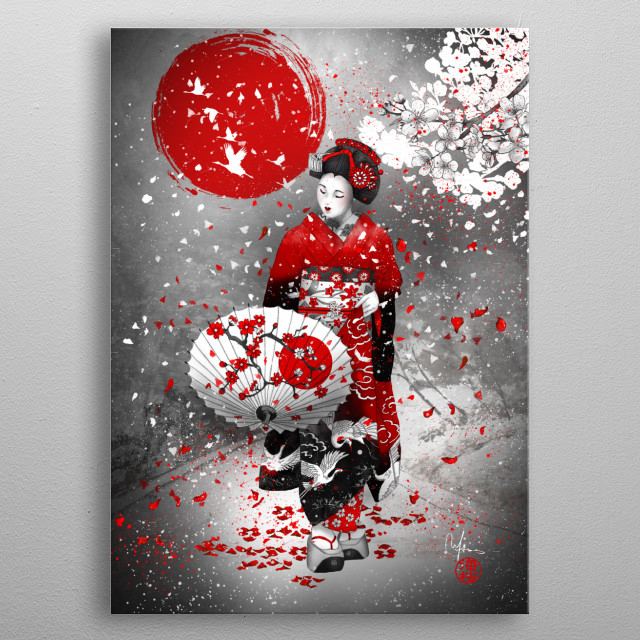 blizzard of falling cherry blossoms, flurry of falling cherry blossoms metal poster