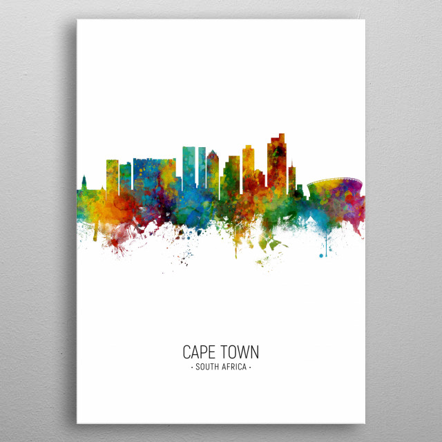 Watercolor art print of the skyline of Cape Town, South Africa metal poster