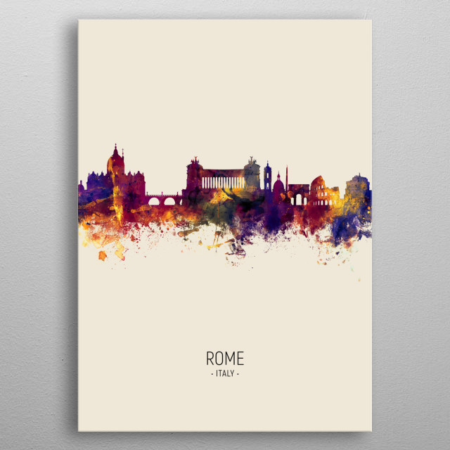 Watercolor art print of the skyline of Rome, Italy metal poster