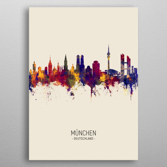Watercolor art print of the skyline of Munich, Germany (München) metal poster