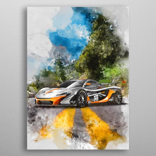 McLaren P1 GTR with watercolor effects metal poster