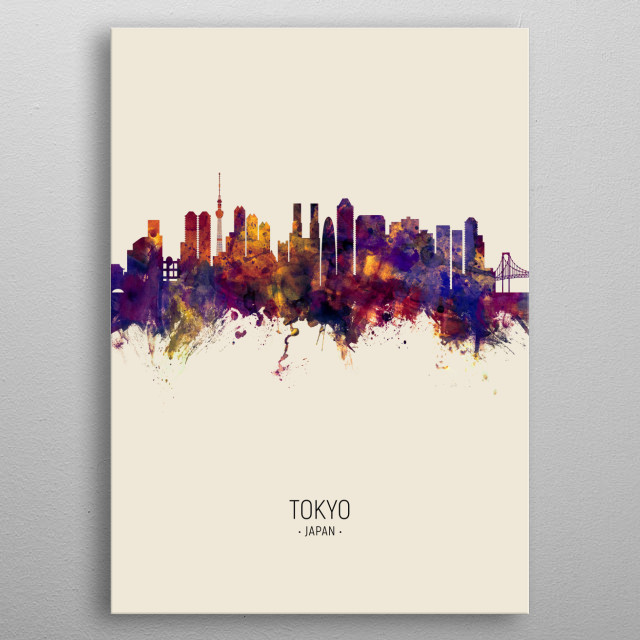 Watercolor art print of the skyline of Tokyo, Japan metal poster
