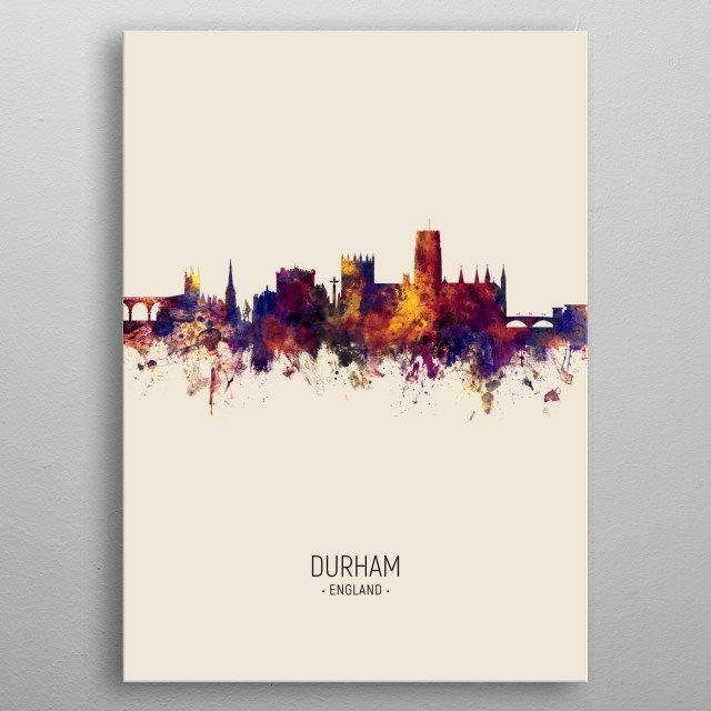 Watercolor art print of the skyline of Durham, England metal poster