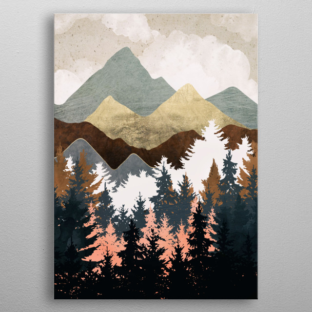 Abstract landscape of a forest view with black, blue, pink, brown and gold metal poster