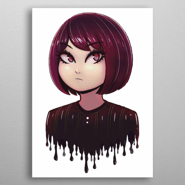 This is a cute girl illustration. We hope that it make your home and office beautiful.  metal poster