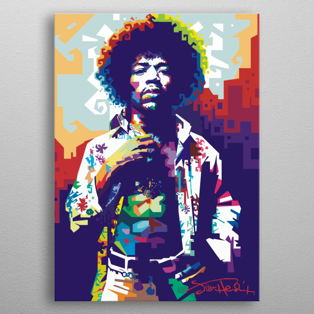 The Legend Jimi Hendrix in WPAP metal poster