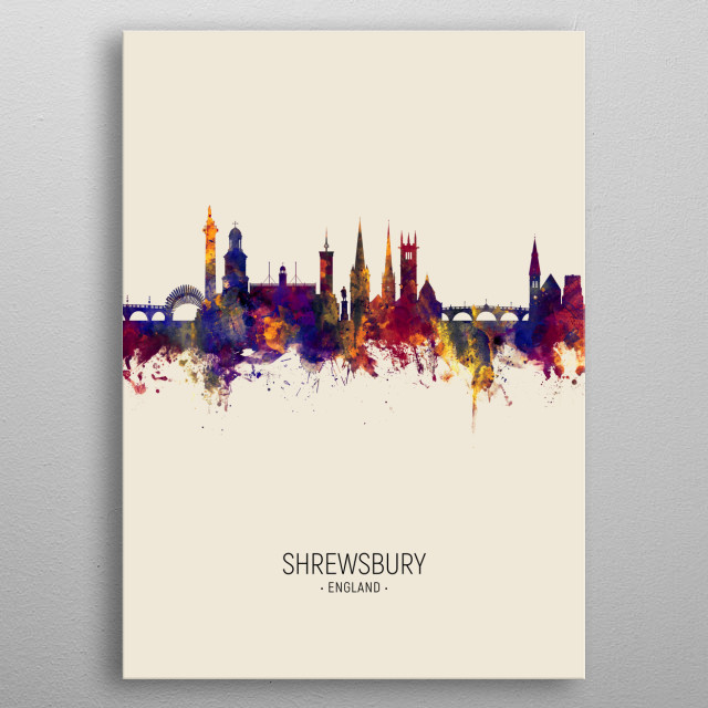 Watercolor art print of the skyline of Shrewsbury, England, United Kingdom metal poster