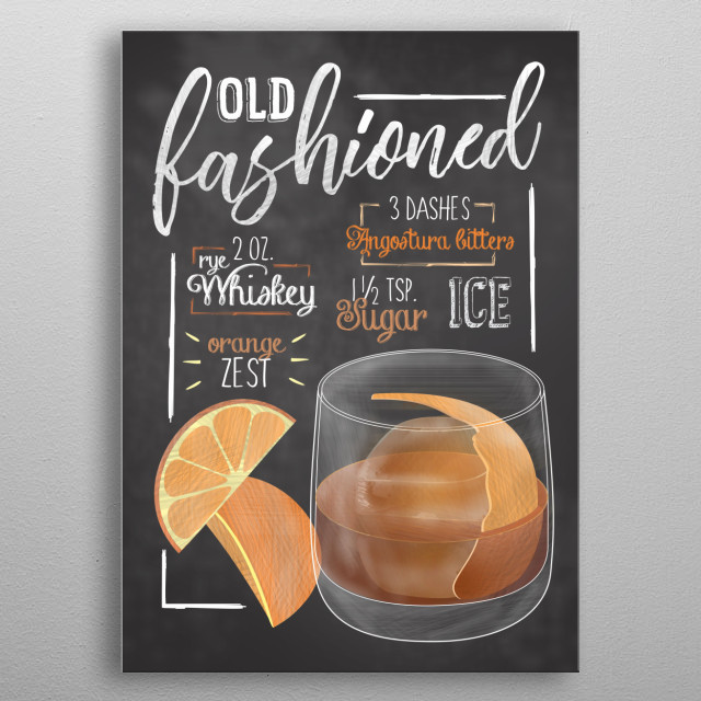 The perfect Displates for cocktail bars. Wall Art for Barkeepers, Kitchen and Decoration fro Cocktail Bars and Restaurants. Old Fashioned metal poster