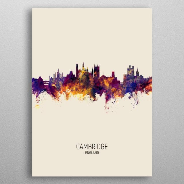 Watercolor art print of the skyline of Cambridge, England, United Kingdom metal poster