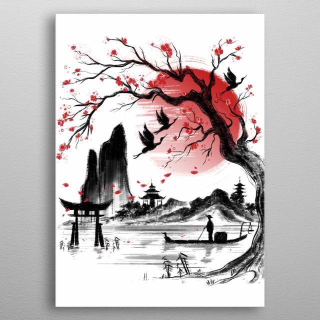 Japanese landscape. metal poster