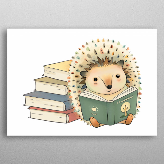 This adorable hand-drawn illustration is digitally painted and features a cute little hedgehog reading with a stack of books.  metal poster