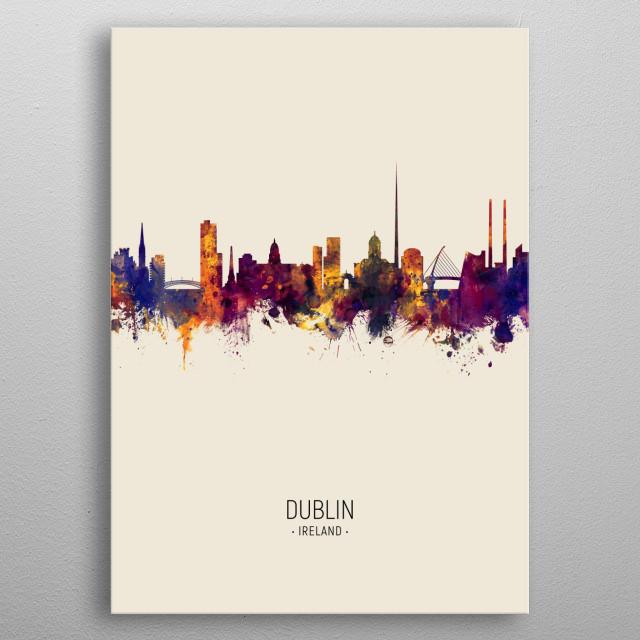 Watercolor art print of the skyline of Dublin, Ireland metal poster