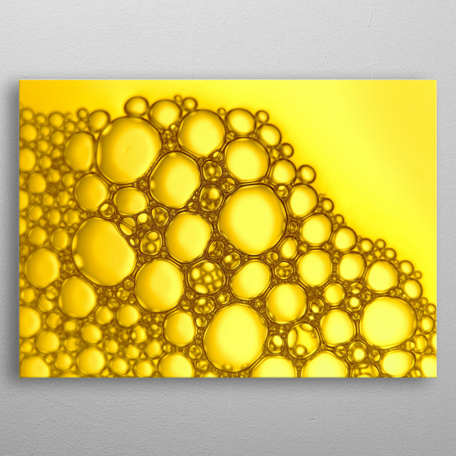 Yellow bubbles abstract light illumination metal poster