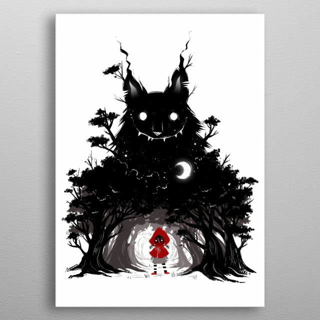 Little Red riding hood in creepy version metal poster