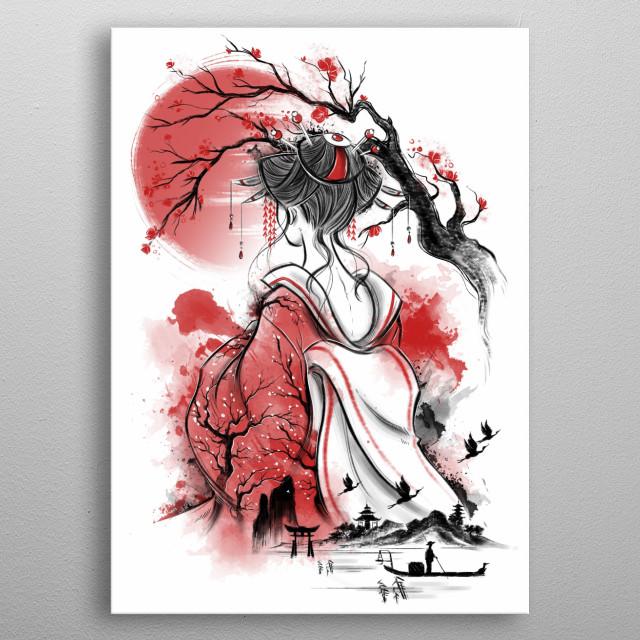 Japanese Gesiha inspired illustration metal poster
