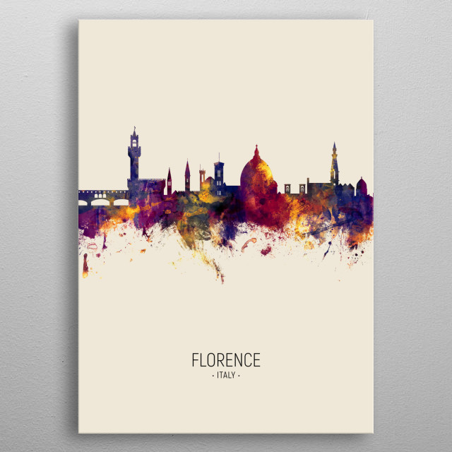 Watercolor art print of the skyline of Florence, Italy metal poster