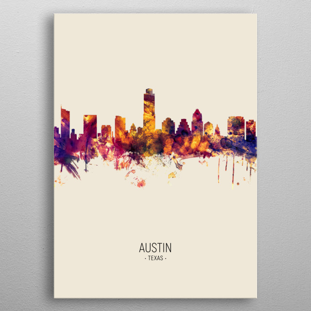 Watercolor art print of the skyline of Austin, Texas, United States metal poster