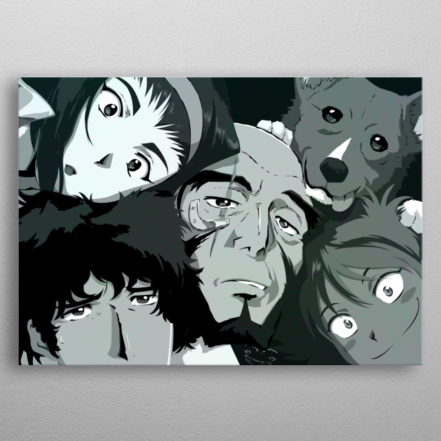 The crew of the Bebop Noir See you space cowboy metal poster