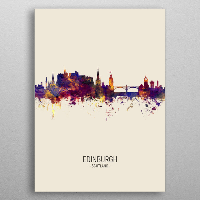 Watercolor art print of the skyline of Edinburgh, Scotland, United Kingdom metal poster