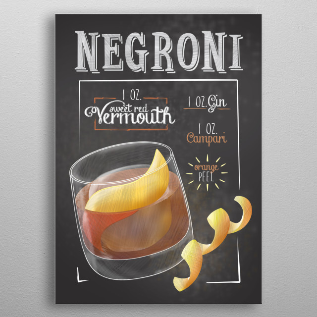 The perfect Displates for cocktail bars. Wall Art for Barkeepers, Kitchen and Decoration fro Cocktail Bars and Restaurants. Negroni metal poster