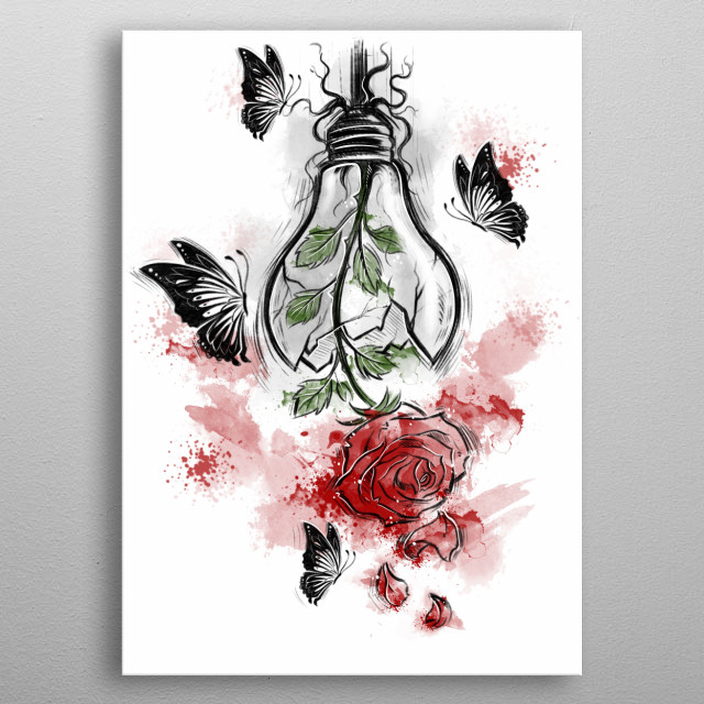 Romantic rose tattoo design. metal poster