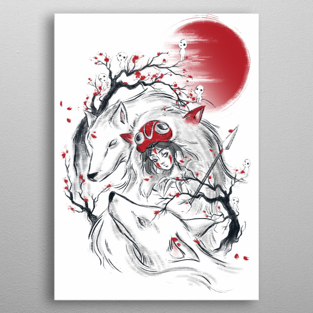 Princess Mononoke inspired design. metal poster