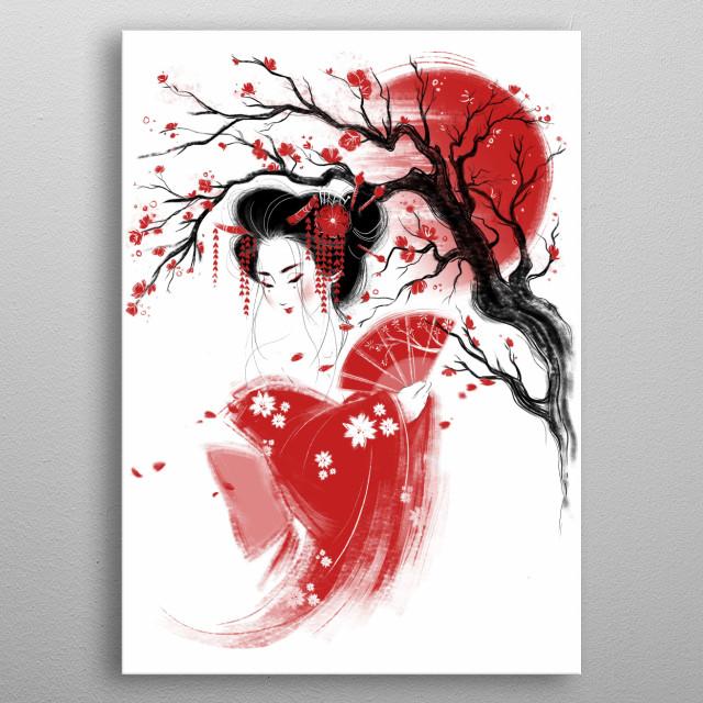 Japanese girl inspired illustration. metal poster