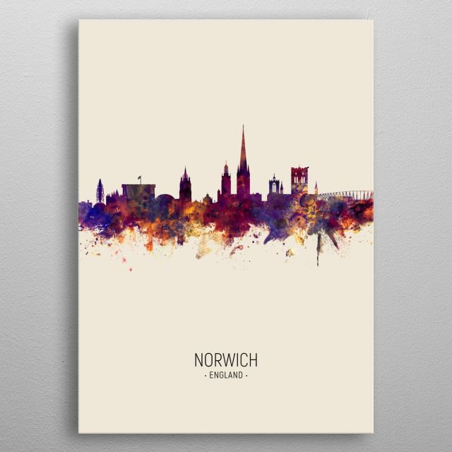 Watercolor art print of the skyline of Norwich, Norfolk, England, United Kingdom metal poster