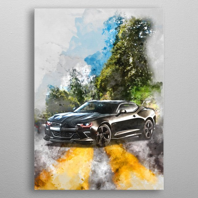 Chevrolet Camaro with watercolor effects metal poster