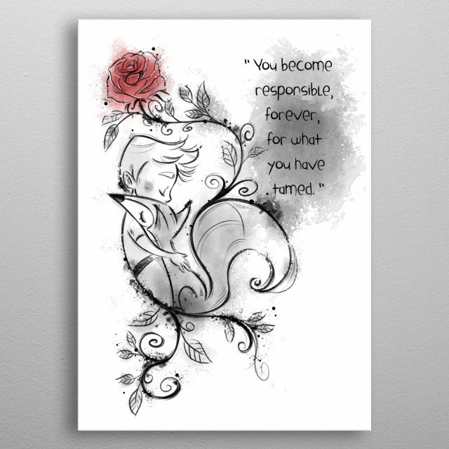 The Little Prince inspired design. The Little prince, the Fox and the rose. Digital illustration. metal poster