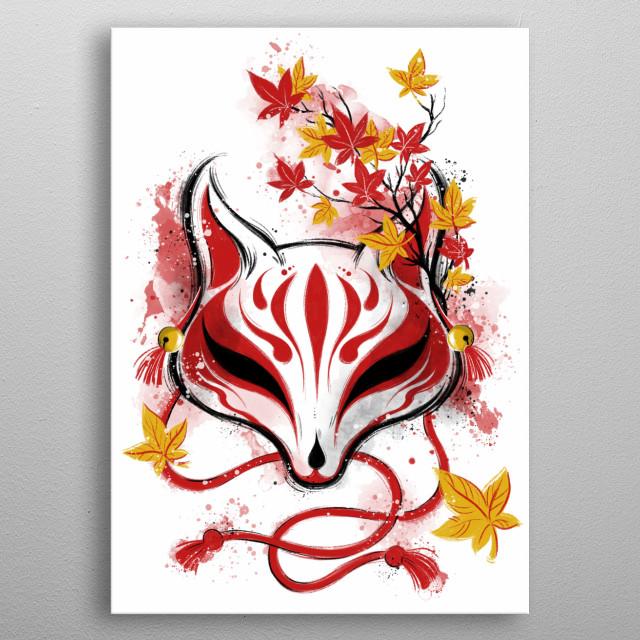Kitsune demon mask inspired illustration. metal poster