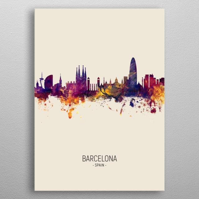 Watercolor art print of the skyline of Barcelona, Spain metal poster
