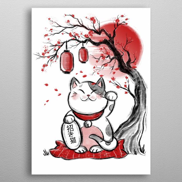 Maneki neko inspired illustration. metal poster